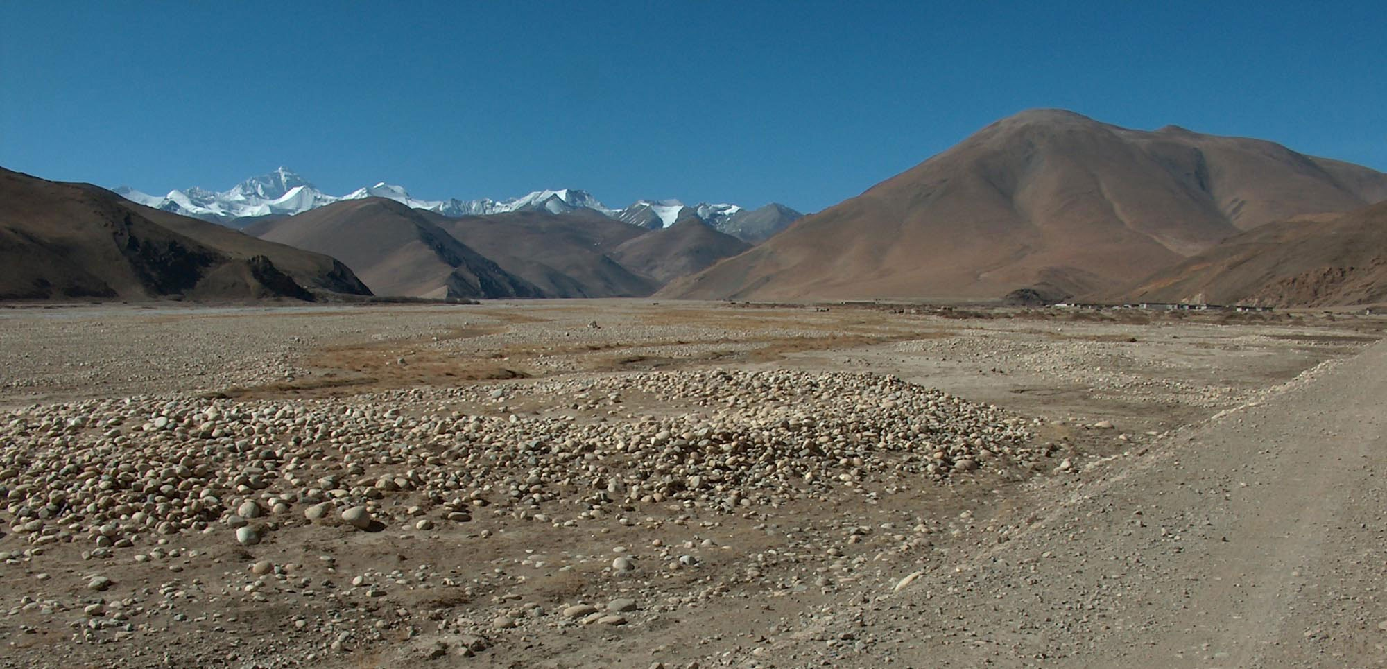 Mount Everest seen from the foothills in Tibet