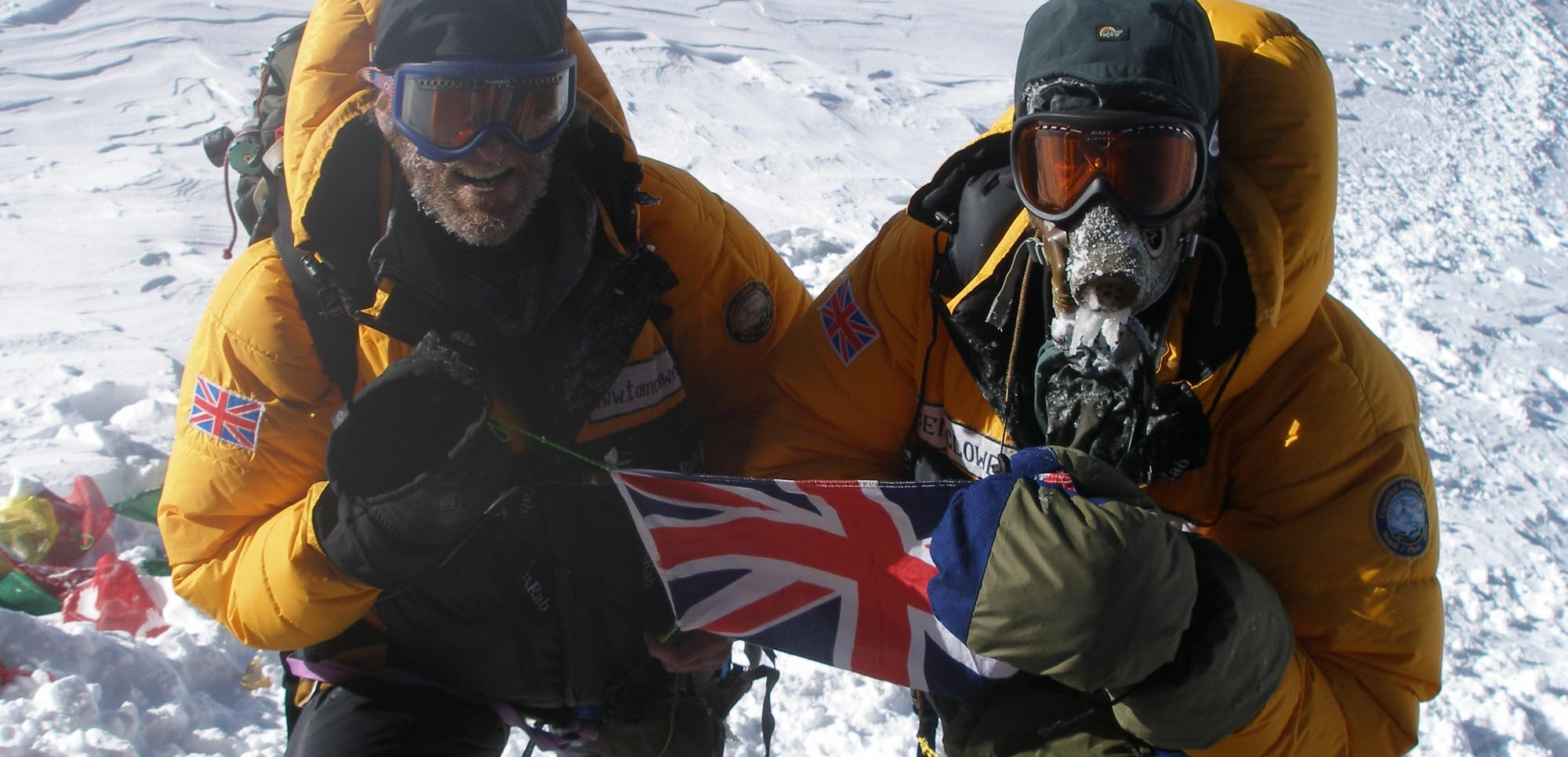 Tom and Ben Clowes on the top of Everest (18th May, 2006)