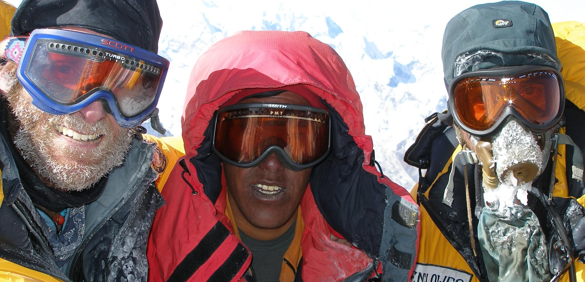 Tom Clowes, Sherpa Pasang Dawa and Ben Clowes on the summit of Everest