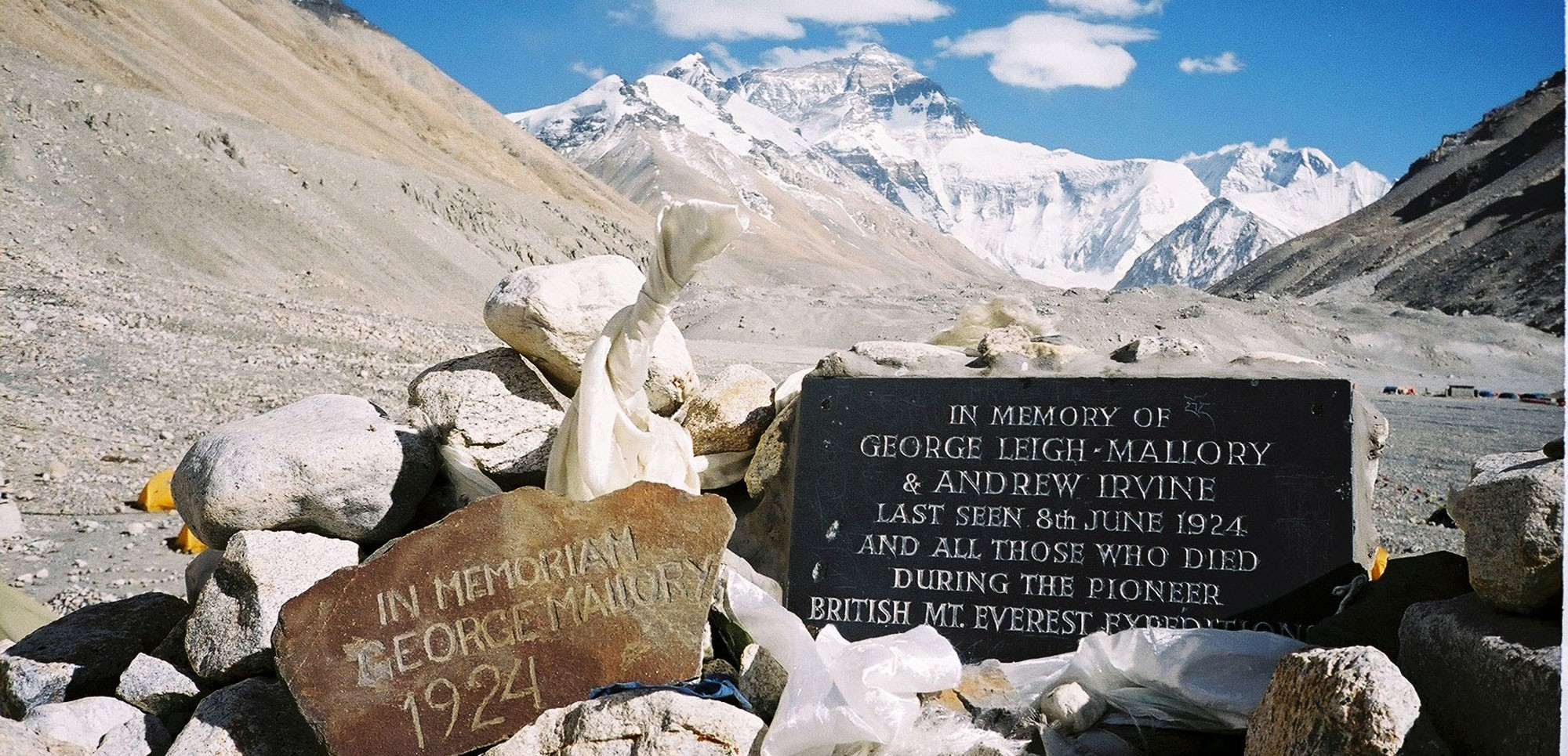 Mallory and Irvine's memorial plaque at Everest Base Camp in Tibet