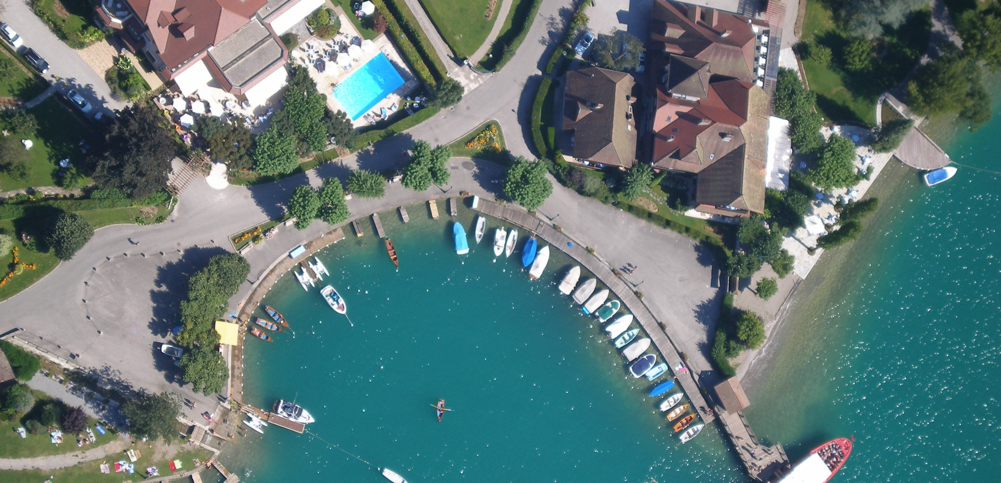 Looking down on the little lakeside village of Talloires