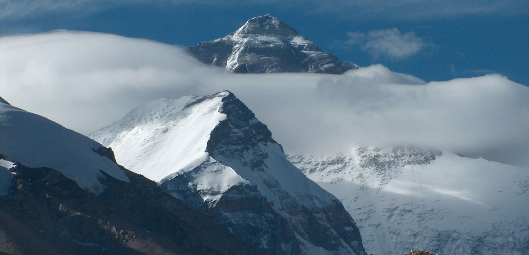 Mount Everest seen on the approach via jeep in Tibet