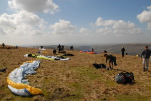 Getting ready to launch - first round of the BCC (paragliding)