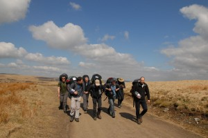 Walking up to the launch at Nant y Moel in Wales